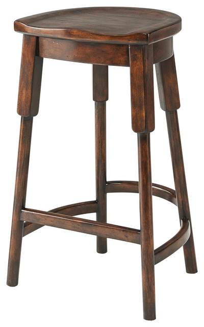 Rustic Provincial Wooden Bar Stool Traditional Stools And Counter By English Georgian America