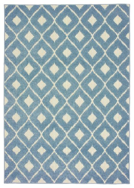 Ibiza Diamond Lattice Blue Ivory Area Rug Contemporary