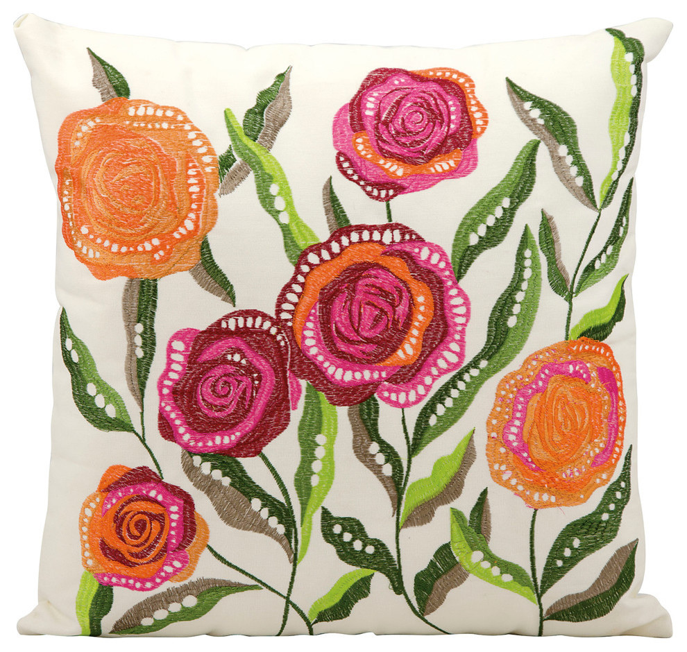 Mina Victory Embroidered Flowers Indoor And Outdoor Pillow
