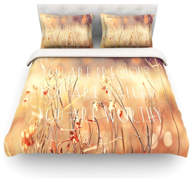 "Suzanne Carter ""You are Precious"" Quote Duvet Cover Farmhouse D"