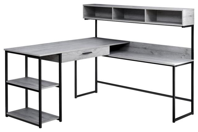 Computer Desk Grey Black Metal, Black Corner Computer Desk With Hutch