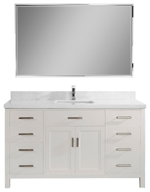 "Kalize Ii 60"" Vanity Set, White, Top: Solid Surface Marble."