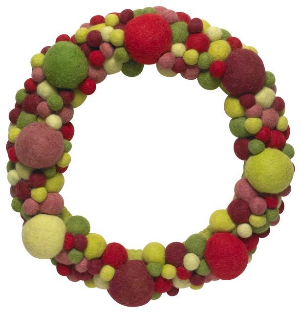 "Handmade Hand Felted Wool Wreath - Multicolor Ball - 14""."