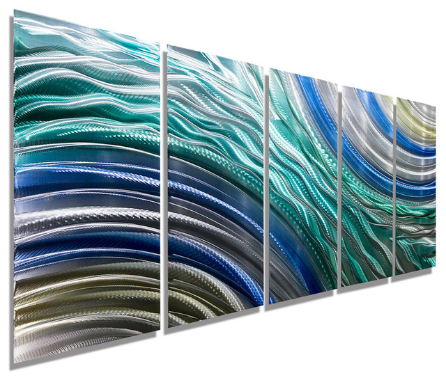 """hydroelectric"" Contemporary Large And Colorful Abstract Metal Painting. -1"