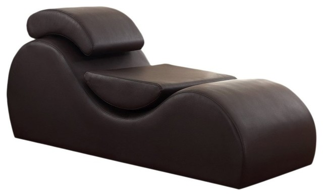 Faux Leather Deluxe Stretch Chaise With Removable Pillows.