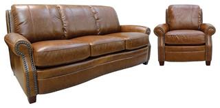 Ashton Leather Sofa Set, 2-Piece Set