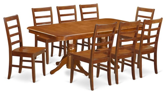 9-Piece Napoleon Featuring Leaf, 8 Wood Seat Chairs Saddle Brown Without Cushion by East West Furniture