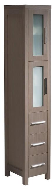 Fresca Torino Gray Oak Tall Bathroom Linen Side Cabinet.