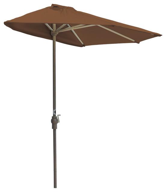 Off-The-Wall Brella Half Umbrella, Teak, 9&x27;, Sunbrella Fabric.