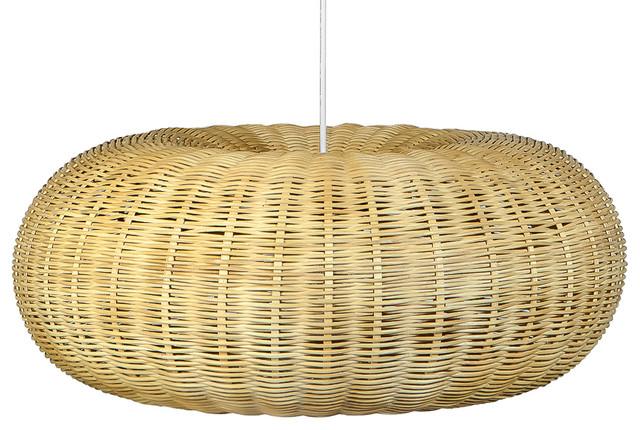 Handwoven Wicker Donut Pendant Lamp, Natural Brown