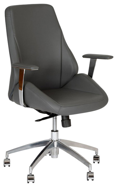 Armen Living Argo Contemporary Office Chair In Gray And Chrome Modern Off