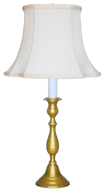 Shop houzz eurocraft home decor candlestick table lamp polished brass with black shade Home decorators lamp shades