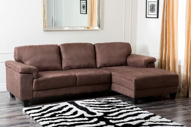Abbyson Living Capri Dark Brown Microsuede Sectional Sofa