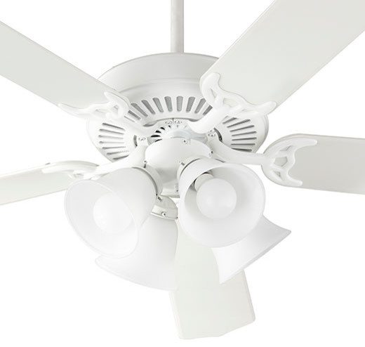 Capri Ix Traditional Ceiling Fan, Studio White With Satin Opal.