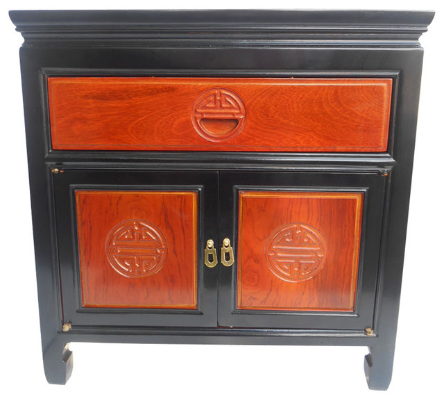 Asian 2 Tone End Table With Long Life Carving Asian Side Tables