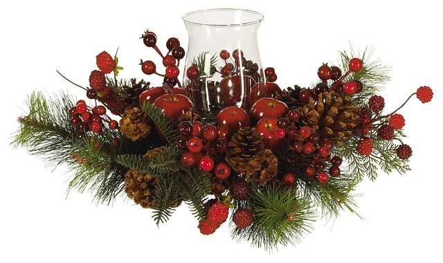 40f48fffce05 Artificial Holiday Pine Cone Plant with Berries Candle Holder Candelabrum