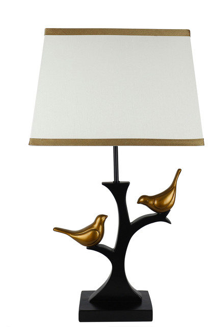 Urbanest Resting Bird Table Lamp With Shade, Black With Gold Birds & Cream Shade.