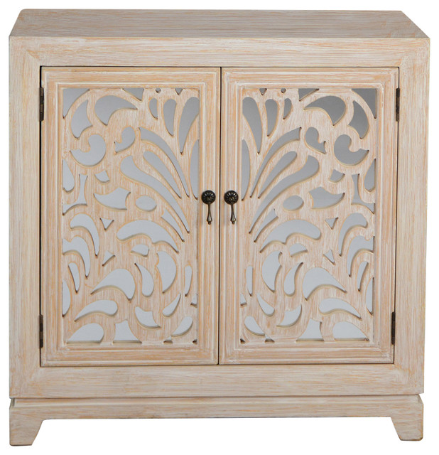 Marrakesh 2 Door Accent Cabinet, Mirror Backed Carved Doors, Distressed  White