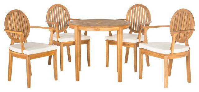 Safavieh Chino Outdoor 5-Piece Dining Set, Teak Brown.