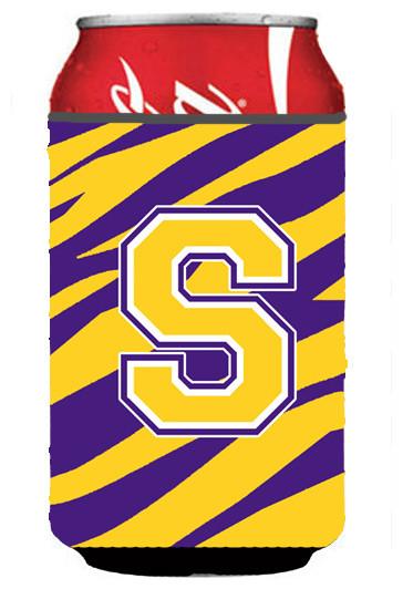 Monogram Tiger Stripe Purple Gold Koozie S