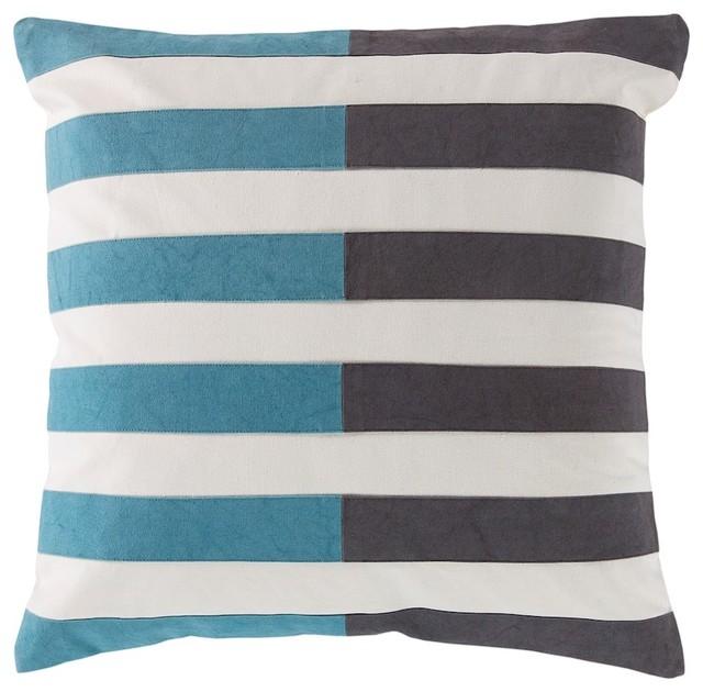 "Oxford By Surya Poly Fill Pillow, Black/aqua/cream, 18""x18"", Ar134-1818p."