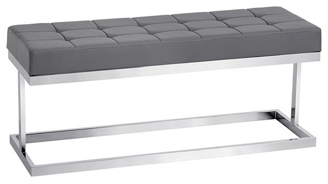 Grey Tufted Leather Bench Contemporary Upholstered Benches By Artefac