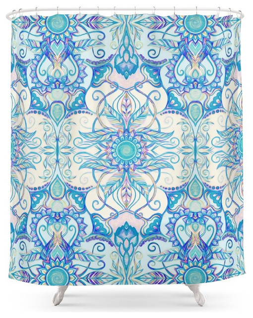 Society6 Teal Blue Pearl And Pink Floral Pattern Shower Curtain Contempora