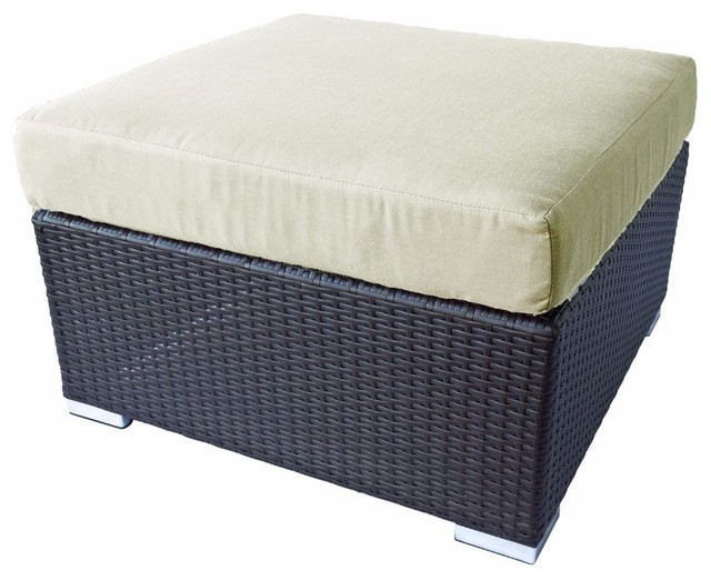 Awesome Outdoor Patio Wicker Ottoman Square Espresso Brown, Light Beige  Contemporary Outdoor Footstools