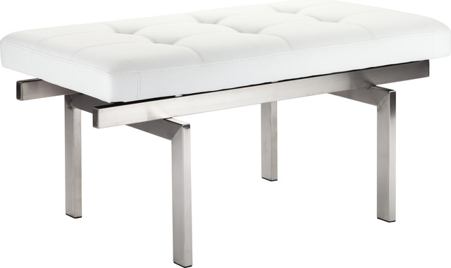Louve Occasional Bench, White, Silver.