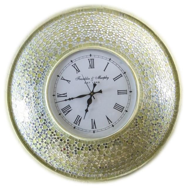 decorshore 225 gold mosaic decorative wall mounted clock mediterranean wall clocks - Decorative Wall Clock