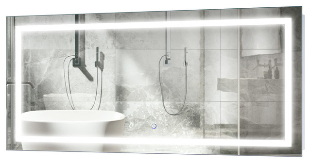 Large Led Lighted Bathroom Mirror With Wall Mount Defogger And Dimmer 48 X24 Contemporary Mirrors By Krugg Reflections