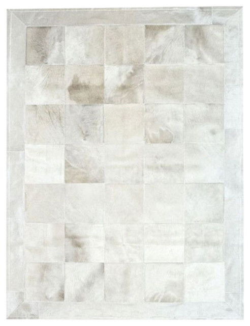 Patchwork Leather Cubed Cowhide Rug, White With Border, 200x300 cm