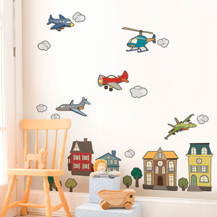 Simple Shapes Airplanes And Helicopters Wall Decals - Wall Decals