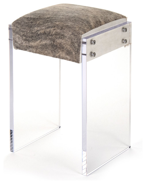Acrylic Counter Height Stools Part - 45: Modern Hollywood Regency Cowhide Acrylic Vanity Counter Stool  Transitional-bar-stools-and-