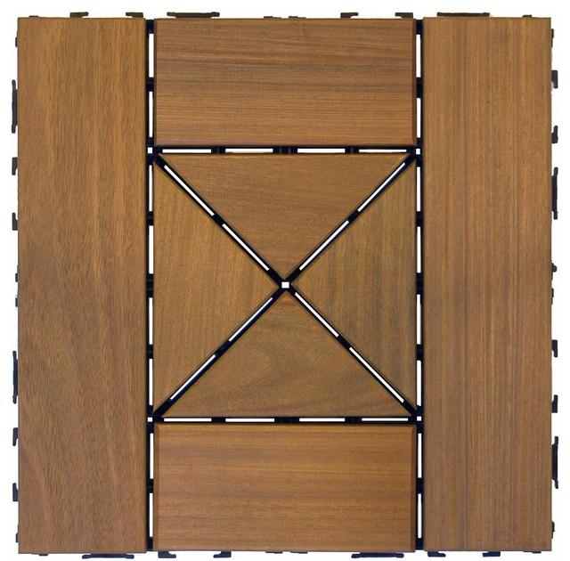 """Swift Sierra Ipe Wood Deck Tiles, 12x12""""."""