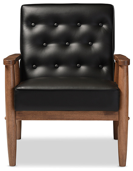 sorrento retro upholstered wooden lounge chair black faux leather