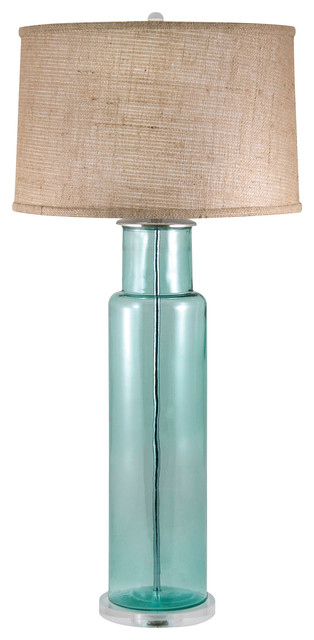 Lamp Works Recycled Glass Cylinder Table Lamp Blue 216b