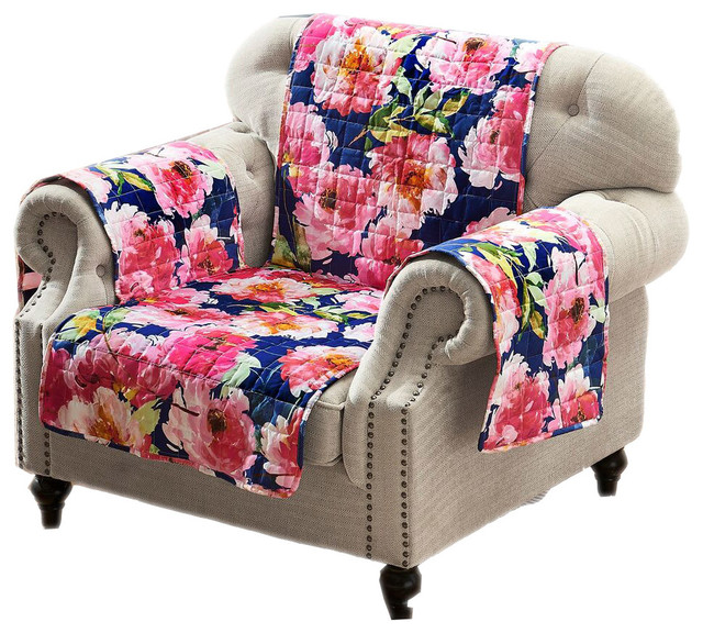 Pleasing Peony Posy Reversible Quilted Furniture Arm Chair Protector Cover 84 X 81 Alphanode Cool Chair Designs And Ideas Alphanodeonline