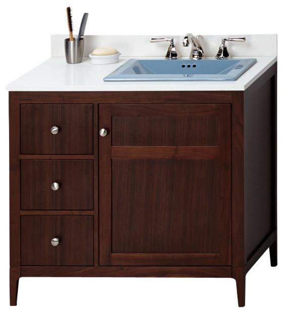 Ronbow Briella Solid Wood 36 Vanity Cabinet Base American Walnut Transitional Bathroom