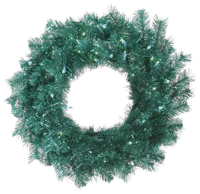 "Aqua Tinsel Wreath, 100 Teal Led, 36""."