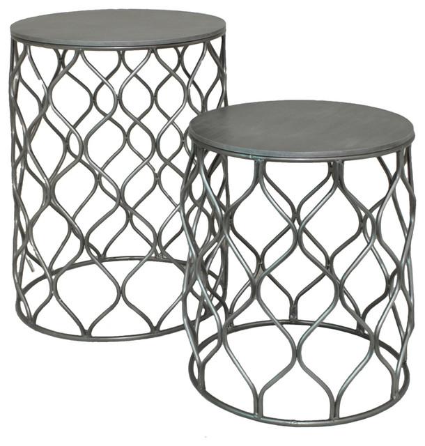 Superior Metal Lattice Frame Wood Tables 2 Piece Set Indoor Outdoor Decor  Contemporary Coffee Table