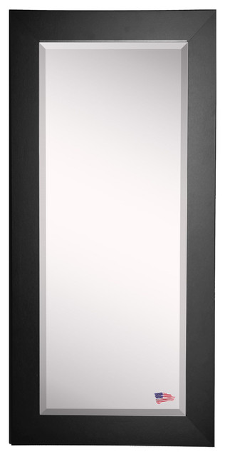 "American Made Rayne Black Satin Wide Extra Tall Floor Mirror, 30.5""x0.75""x71""."