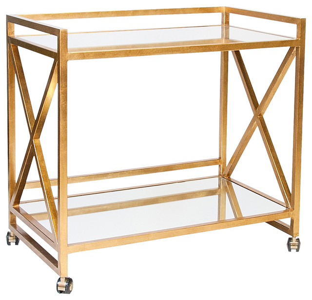 Kerry Hollywood Regency Gold Leaf Mirror Serving Bar Cart transitional-bar-carts