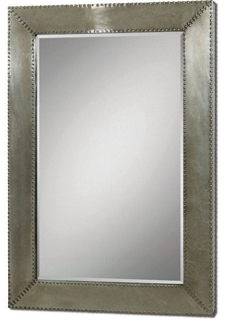 uttermost 07638 rashane silver champagne metal oversized framed mirror industrial wall mirrors