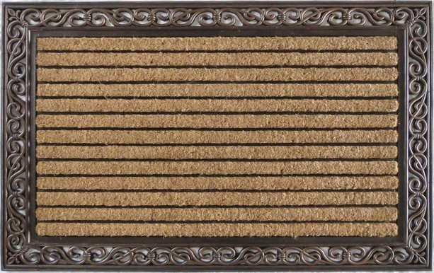 rubber and coir molded large double door mat copper finish doormats