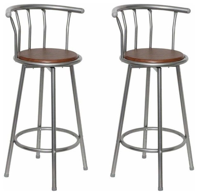 Bar Stools With Grey Finished Metal Frame and Round Wooden Seat, Set of 2