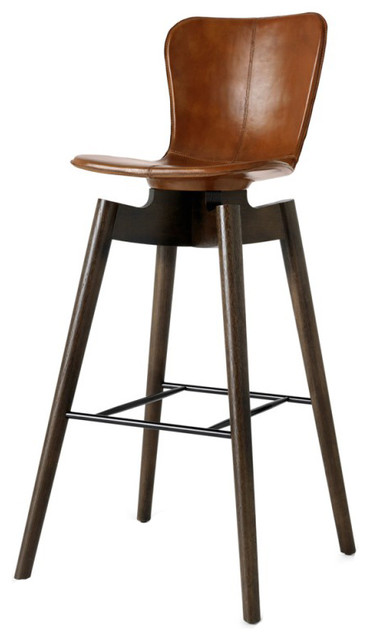 Awesome Mater Danish Modern Shell Bar Stool Brown Leather Seat Short Links Chair Design For Home Short Linksinfo