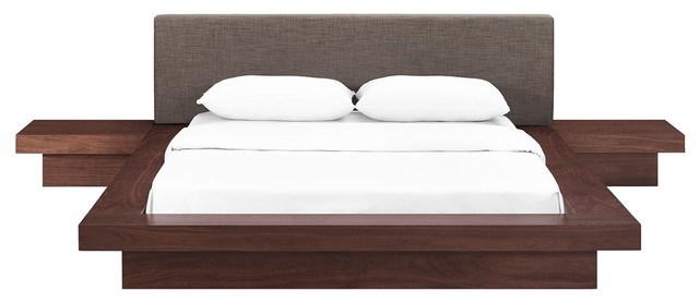 Modern Contemporary Urban 3-Piece Queen Size Bedroom Bed Set, Brown, Wood.