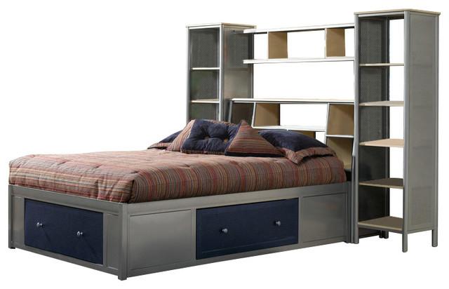 brayden bookcase headboard twin with storage platform and wall unit industrial kids