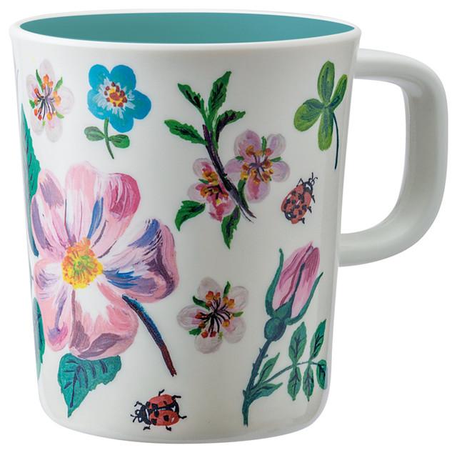 Nathalie Lété Blue Flower Mugs, Set of 4